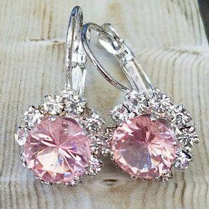 Jewelry - Pink Crystal Leverback Earrings